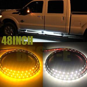 """Pair 48"""" Amber White Running Board Side Step LED Light kit for Dodge GMC Truck"""