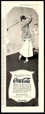 1917 Coca-Cola COKE  Lady Golfer Swinging Striped Jacket Antique Vtg Print Ad