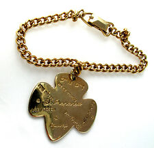 24K Gold Plate CHARM BRACELET 1950s Girl Scouts Be Prepared LEADER GIFT, EUC