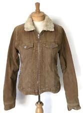 Holliser Womens Jacket Large Bown Corduroy Faux Fur Collar Cotton Casual Pockets