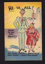 Comic postcard very tall man & very short woman things come high-won't run short
