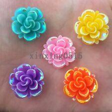 New DIY 10pcs mix 20mm AB Resin flower Flatback Rhinestone Wedding buttons craft