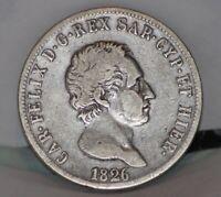 Savoia Regno Sardegna Carlo Felice 5 lire 1826 Genova Eccellente moneta