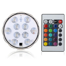 10 LED RGB Submersible Light Waterproof Wedding Party Vase Lamp +Remote Control