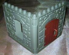 1 Lego Duplo Wand Ersatzteil Hauswand grau m. Türe aus Ritterburg 4864 4776 4777