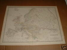 "1861 ANTIQUE MAP ""EUROPE""  A K JOHNSTON/BLACKWOOD & SON"
