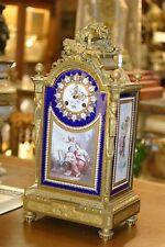 Antique French Gilded Bronze , Jewels,Painted Porcelain Mantel Clock, C.1880