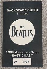 "RARE Beatles ""1965 American Concert Tour"" Backstage Pass | 1980s Fantasy Ticket"