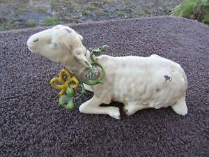 "Antique Putz Metal Sheep Lamb 5.25"" St Patricks Day Shamrock Hops Wreath Great C"