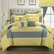 Aida Quilted 25 Piece King Room In A Bag Comforter Bed Sheet Set Yellow