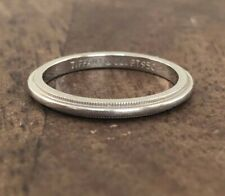 Tiffany & Co Milgrain Wedding Band Ring 2mm Platinum Size 6