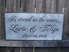HP CUSTOM WEDDING BRIDE & GROOM PHRASE & DATE CUSTOM COLORS & WORDING WOOD SIGN