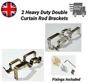 Heavy Duty Metal Double Curtain Rod Pole Wall Brackets & Fixings Rod Holder 19mm