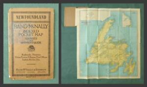 NEWFOUNDLAND c.1920s FOLDING MAP, Canada - by RAND McNALLY