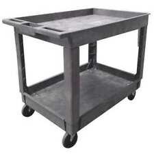 Zoro Select 5utj2 Polypropylene Utility Cart With Deep Lipped Plastic Shelves