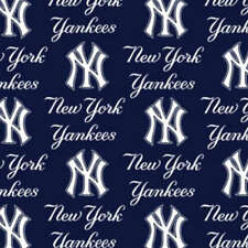 MLB NEW YORK YANKEES COTTON FABRIC MATERIAL, Fabric Sold By The 1/2 Yard!