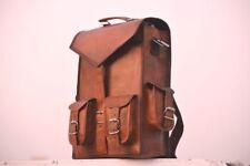 New Men's Real Goat Leather Hiking Brown Messenger Bag Shoulder Laptop Briefcase