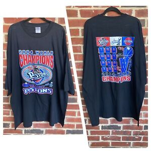 Detroit Pistons NBA 2004 World Champions Playoffs Black T-Shirt Allstyle 4XL