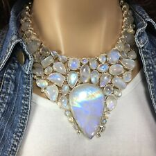 Rainbow Moonstone Labradorite Sterling Silver Statement Necklace with  Earrings