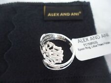 Alex and Ani Sterling Silver LOTUS PEACE PETALS SPOON RING New W/ Tag Card & Box