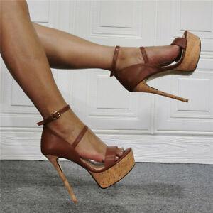 Fashion Faux Leather Roman Sandals Sexy Super High Stiletto Platform Women Shoes