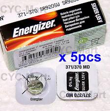 5 pedazo x Energizer 371 SR920SW Óxido de plata Pilas GRATIS POSTE Made in USA