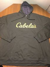 Cabela's Olive Pullover Hoodie Mens L sweater sweatshirt Yellow Screen