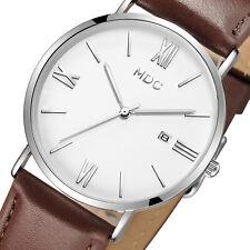 Reloj de Pulsera MDC Caballeros Cuarzo Analógico para Hombre Vestido Informal Ultra Delgada de Cuero Marrón