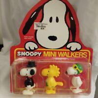 Vintage Snoopy Mini Walkers Top Hat, Woodstock Flower, Red Baron - Very Rare set