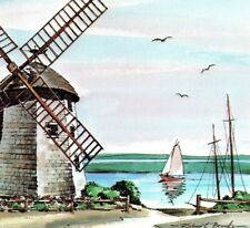Old Bass River Judah Baker Windmill South Yarmouth Cape Cod Vintage Postcard