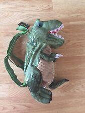 "Children's Green Dinosaur Backpack School Bag Stuffed Plush Toy T-Rex 14"" tall"