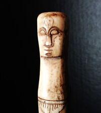 Vintage Maori nuts or medicine container bone carved portable tube