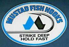 "Fishing Decals 4 MUSTAD Vinyl Sticker  7/"" Width Blue Glossy"