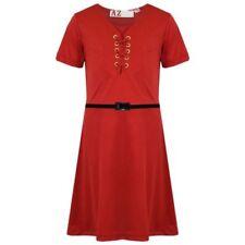 Vestidos de niña de 2 a 16 años de color principal rojo de poliéster