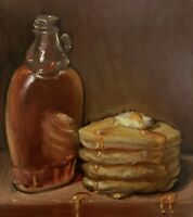 """Pancakes & Syrup"" NOAH VERRIER Still life oil painting, Signed art print"