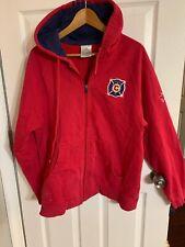 ADIDAS CHICAGO FIRE Vintage Mens Full Zipper Sweatshirt, MEDIUM, Red Navy Blue