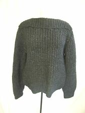 """Ladies Jumper dark grey chunky knit, hand made, pit to pit 21"""", length 25"""", 0469"""