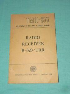 Collectable Manual TM11-877 for Trans-Oceanic Radio Receiver R-520/URR