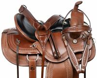 HORSE SADDLE WESTERN PLEASURE TRAIL BARREL TOOLED LEATHER TACK SET 15 16 17 18