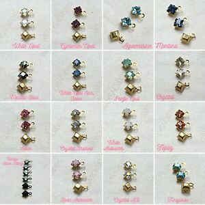 Swarovski 4mm fancy stone square setting drop one loop 12 pieces FREE SHIPPING