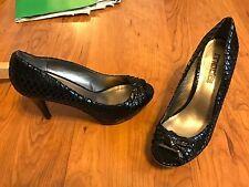 "Moda Spana Womens Black Snake Skin Style Open Toe 4 1/4"" Heels Shoes Sz 9.5 M"