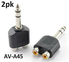"2-PACK 1/4"" Stereo Plug to 2-RCA Female Jack Y Audio Adapter, AV-A45"