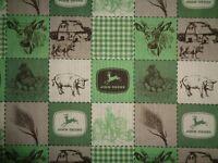 """Fabric/ /Cotton John Deere Green/ecru/Patchwork/ 2yds.44""""wide"""