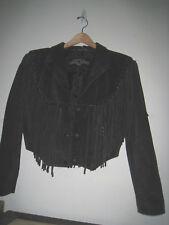 Vintage Black Suede Leather Fringe Jacket Leather Gallery Motorcycle Western S