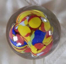"""Glass Paperweight - 2 1/2"""" - Red, yellow and blue swirls- perfect, rainbow"""