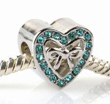 HOT European 925 Silver Hollow LOVE CZ Charm Beads Fit Necklace Bracelet #D97