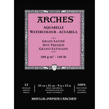 Arches : Aquarelle : Gummed Watercolour Pad : 23x31cm : 12 Sheets : Hot Pressed