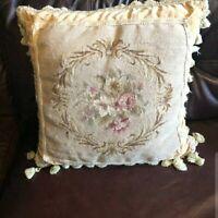 "Gorgeous 20"" Floral NeedlePoint Pillow Cushion Sham"