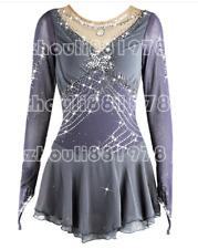 Figure Skating Dress Women's Girls' Skating Dress Long sleeve Gray handmade