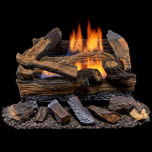 Duluth Forge Ventless Natural Gas Log Set, 18 in. Split Red Oak 30,000 BTU